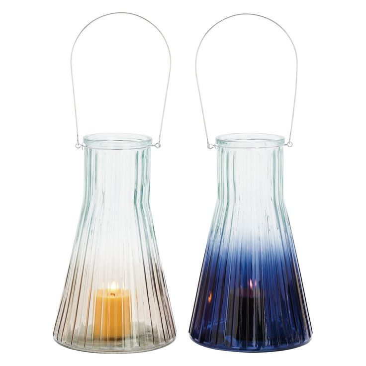 DecMode Ribbed Glass Lantern Candle Holder - Set of 2 - 85001