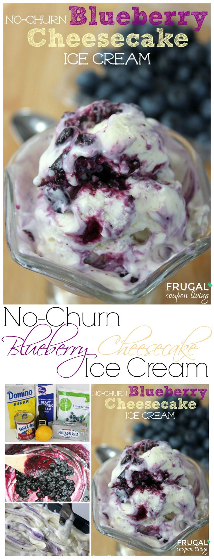 No-Churn Blueberry Cheesecake Ice Cream Recipe on Frugal Coupon Living. Blueberry Recipe. Spring Recipe. Summer Recipe.