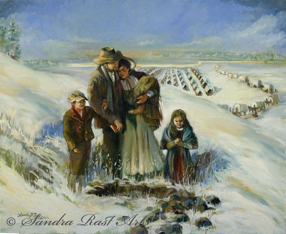 Pioneers during winter season at Winter Quarters. 11X14 Open Edition Giclee - $129.00 16X20 Limited Edition Giclee - $350.00 20X24 Limited Edition Giclee - $395.00 5X7 matted to 8X10 - $12.95