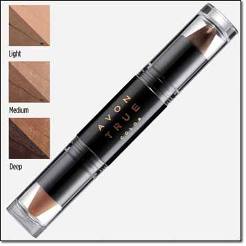2-in-1 Contour Stick — to play up her cheekbones, narrow her nose and define her jawline. Avon True Color Transforming Contour Stick Silk powder-gel glides on the face for smooth, buildable coverage. Oil-absorbing formula. Matte finish. .184 oz. total net. wt. Price: $11.00