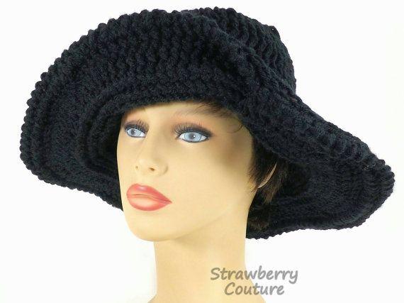 Black Crochet Hat Womens Hat Womens Crochet Hat Steampunk Hat Black Hat FRONTIER Wide Brim Hat Floppy Hat Wide Brimmed Hat by strawberrycoutureby #strawberrycouture on #Etsy