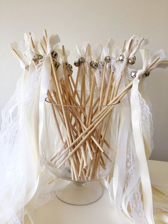 50 Wedding Wands, Wedding Send Off Streamers, Ribbon Wands, Double Ribbon Wedding Wands With Bells, Shabby Chic Lace