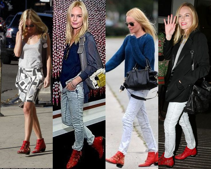 Kate Bosworth Chloe Studded Red boots