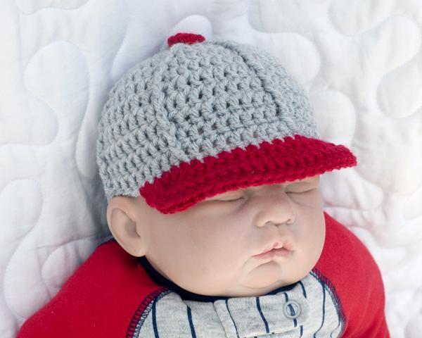 Baby Boy Baseball Hat Crocheted Baseball Cap Crochet Baby Boy Crochet Baby Boy Hat Baby Boy Baseball