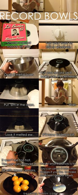 Making record bowls (via http://goo.gl/Qispt): Old Records, Cheer, Record Crafts, Record Bowls This, Vinyl Records, Craft Ideas, Diy, Making Record, Making Bowls