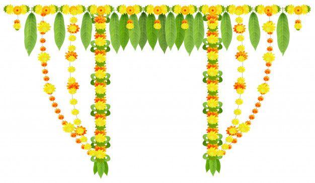 Garland For Door Of Mango Leaves And Marigold Flowers Ugadi Or Gudi Padwa Indian Lunar New Year Floral Cards Design Marigold Flower Banner Clip Art