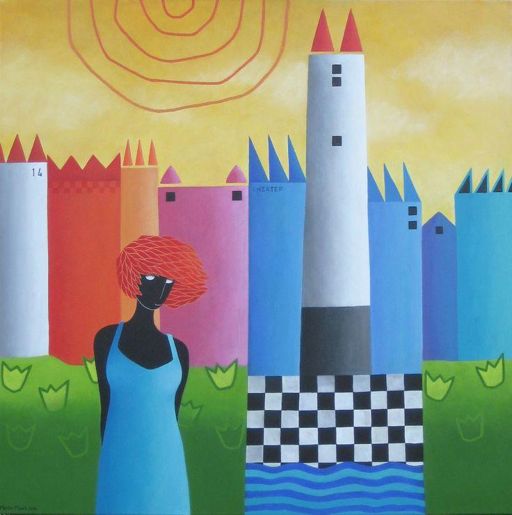 Woman in turquoise  - acryl on canvas -95x95 - Marike Meurs