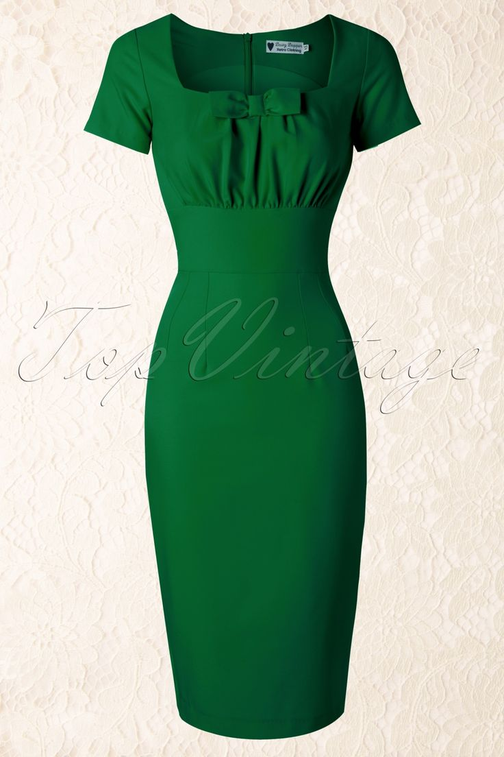 Daisy Dapper - TopVintage exclusive ~ 50s Debbie Pencil Dress in Green
