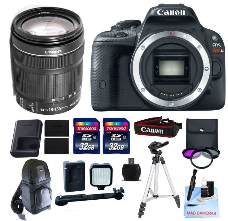 Canon EOS REBEL SL1 + Canon 18-135mm f/3.5-5.6 STM Standard Zoom Lens, + 2 32GB Transcend SD Memory Cards + LED Video Light Kit & More - International Version. This Canon DSLR Kit Includes: Canon EOS REBEL SL1 + Canon 18-135mm IS STM Zoom Lens. All Original Supplied Manufacturer Accessories- LP E12 Battery, LC E12 Charger, EW300 Neck Strap, EOS Solution Disc, Interface Cables. 2 32GB Transcend High Speed SD Cards, Rechargeable LED Video Light Kit, 3 Piece Filter Kit-Ultra Violet Filter...