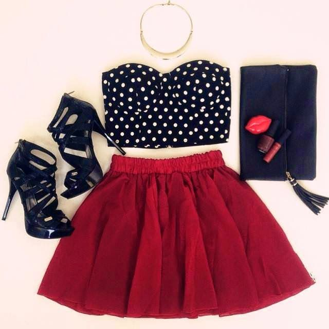 How to Chic: POLKA DOT BUSTIER - OUTFIT SET