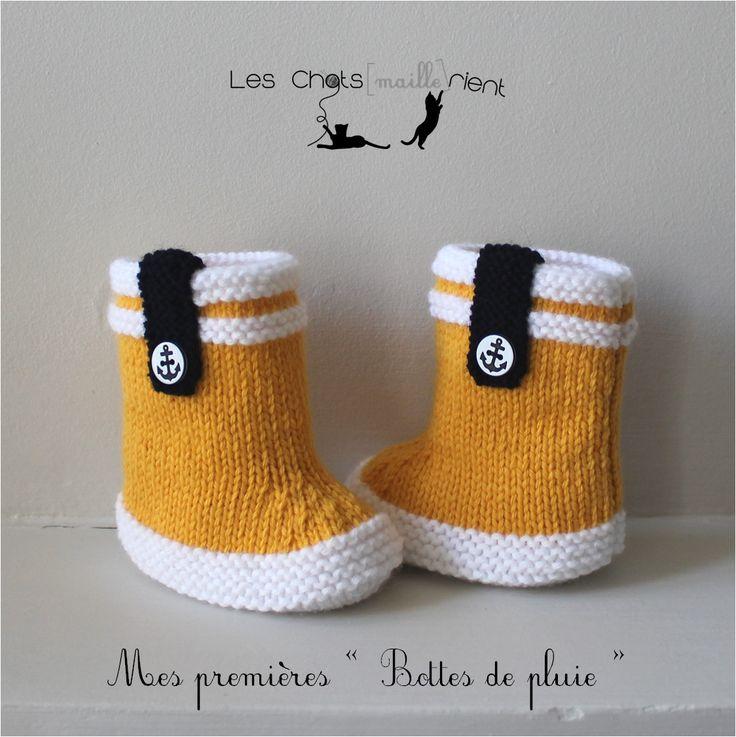 Chaussons bébé tricotés main, style bottes de pluie, jaune et blanc, 3-6 mois : Mode Bébé par les-chatsmaillerient