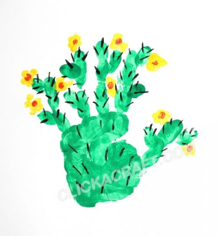 Handprint and Fingerprint Cactus Craft - Handprint Art Ideas for Kids