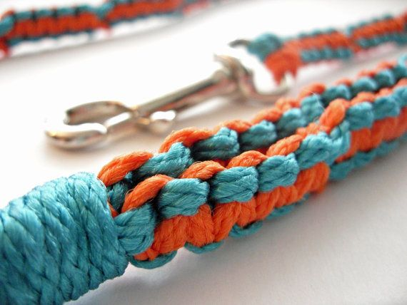 For 10% off entire shop - use Coupon Code PIN10 - Orange and Aqua  Macrame Leash by Balilu on Etsy, $18.00