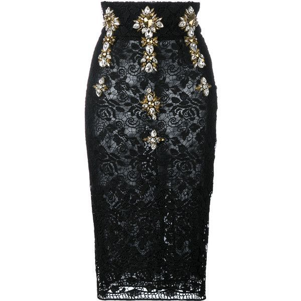 Stefano De Lellis embellished high waist lace pencil skirt found on Polyvore featuring polyvore, women's fashion, clothing, skirts, black, юбки, knee length pencil skirt, high waisted skirts, high waisted lace skirt and knee high skirts