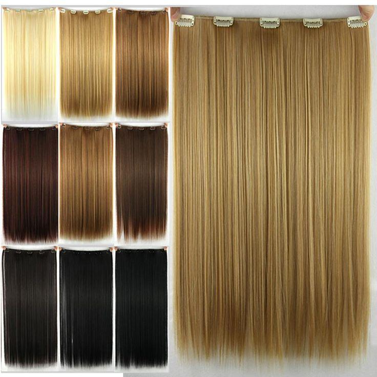 8 couleurs, droite cheveux synthétiques, clip en Extensions de Cheveux, livraison gratuite
