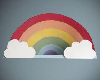 DIY Inspiration - Rainbow wall shelf.: Ideas, Rainbows, Rainbow Shelf, Wall Shelves, Cloud, Rainbow Wall, Wall Shelf, Kids Rooms