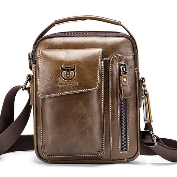 Bullcaptain Genuine Leather Business Messenger Bag Vintage Crossbody Bag For Men - US$46.00