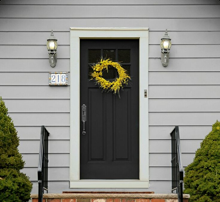 Sherwin Williams Grey Clouds Reflection Tricorn Black Exterior Siding Front Door And