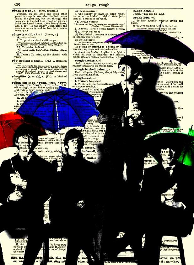 Beatles Silhouettes & Umbrellas Antique Dictionary Art Print, Buy 2 Get 1 Free, Home Decor, Wall Decor, Dictionary Page Art, Mixed Media Art. $10.00, via Etsy.