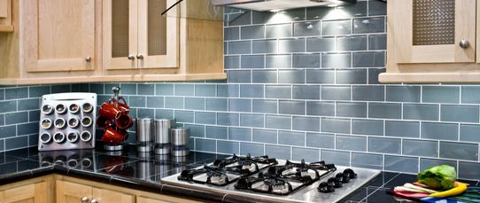 blue glass subway tile backsplash kitchen pinterest