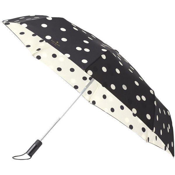 kate spade new york Travel Umbrella - Black Dots ($57) ❤ liked on Polyvore featuring accessories, umbrellas, kate spade, print umbrella, travel umbrella, kate spade umbrella and dot umbrella