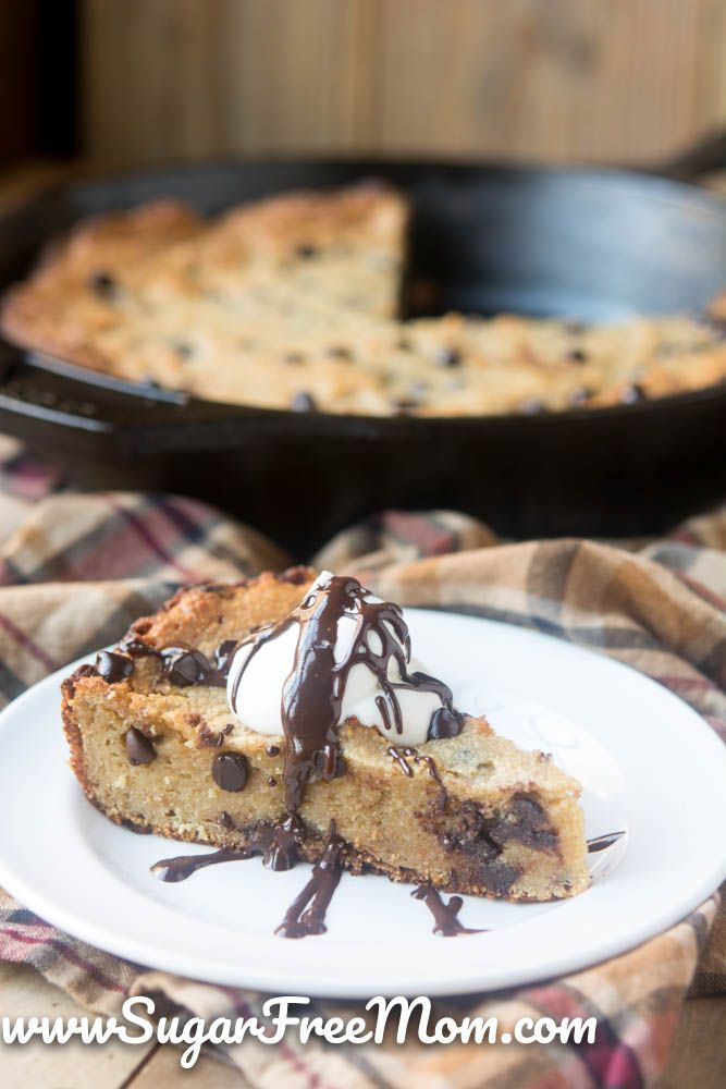 This Amazing Low Carb Chocolate Chip Skillet Cookie is gluten free, sugar-free, tree nut free and in just one decadent bite you feel like your cheating on your sugar-free diet, but you're not!