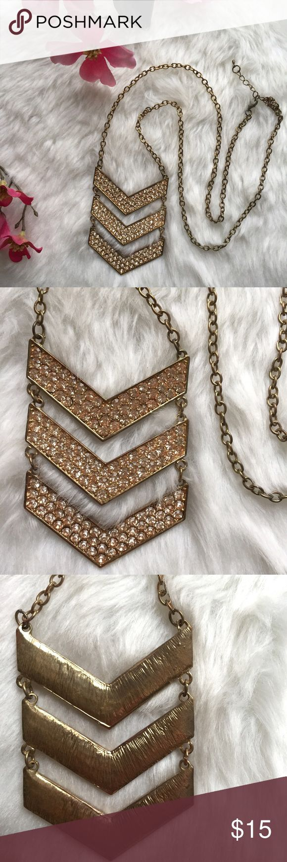 Gold Rhinestoned Arrow Necklace Beautiful, new chevron necklace! No rhinestones missing or scratches. Anthropologie Jewelry Necklaces