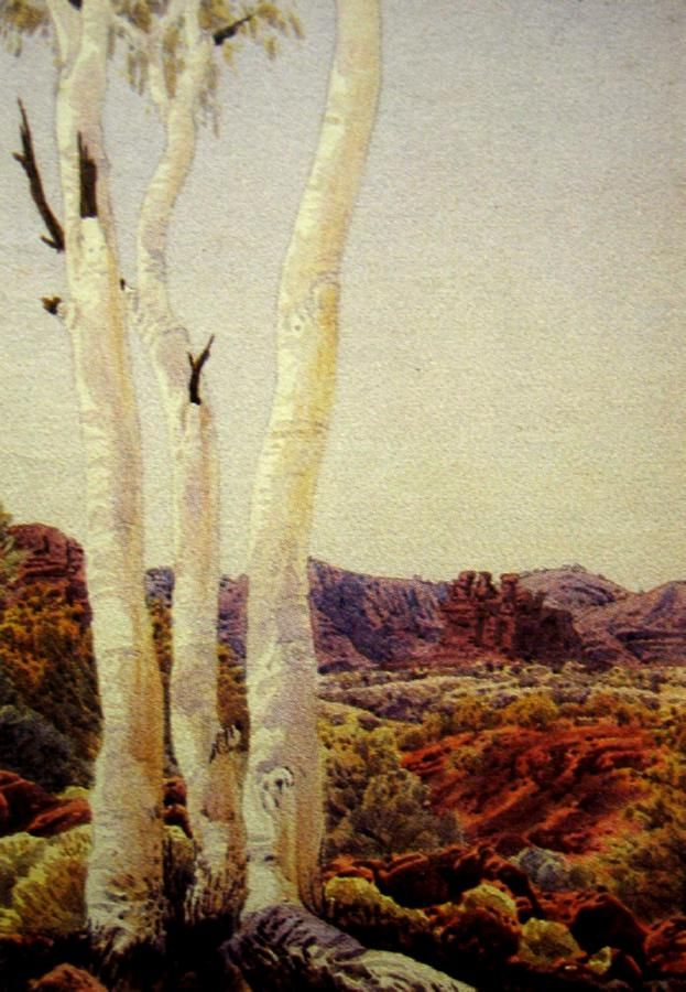 Albert Namatjira, Landscape with Ghost Gums, watercolour, signed lower right, 38 x 27 cm
