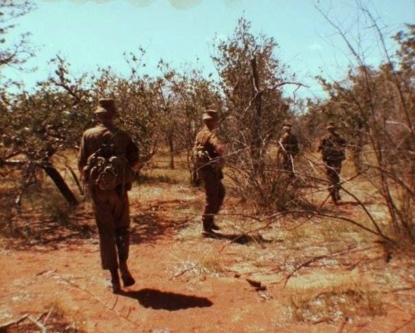 South African paratroops on a raid in Angola during the South African Border War