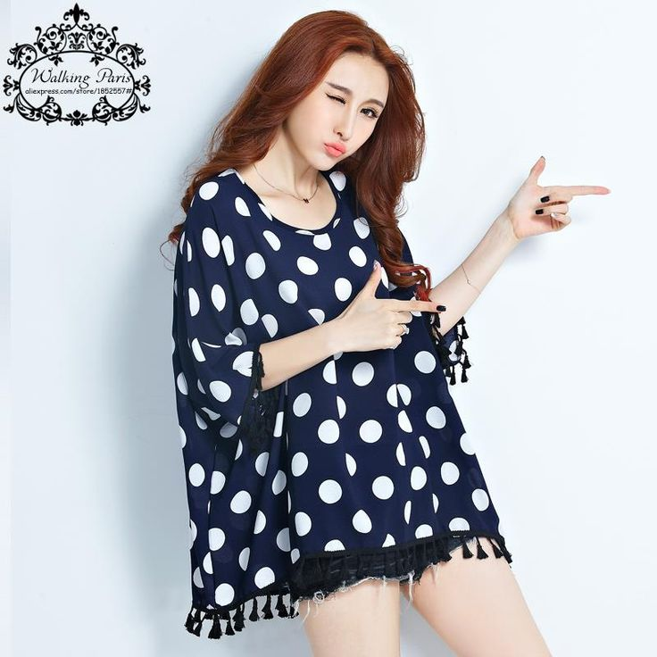 Plus Size Summer Women T-Shirt Blue and White Polka Dot Print Tops Fashion Batwing Sleeve T Shirt Dress 4XL Big Size Tassel Tee