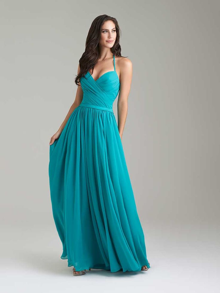 Pleated chiffon will make this dress a dream down the aisle and on the dance floor. // Pictured in Teal.