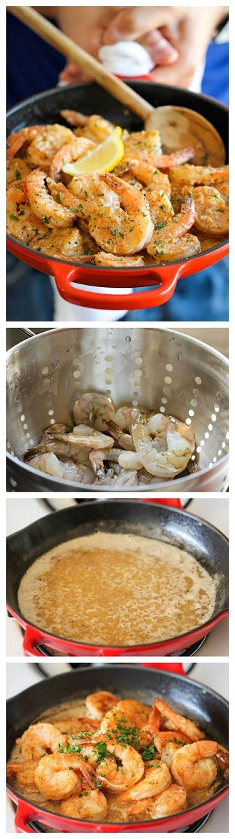 Perfect Garlic Butter Shrimp-- so so sooooo good! And easy. We had it with fettuccini Alfredo.