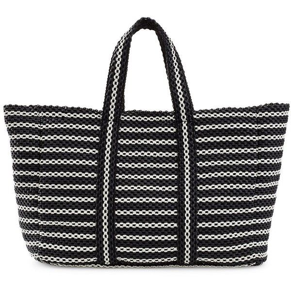 B Brian Atwood Women's Straw Tote Bag ($95) ❤ liked on Polyvore featuring bags, handbags, tote bags, black white, black and white tote bag, woven tote bags, tote purses, straw handbags and woven straw handbags