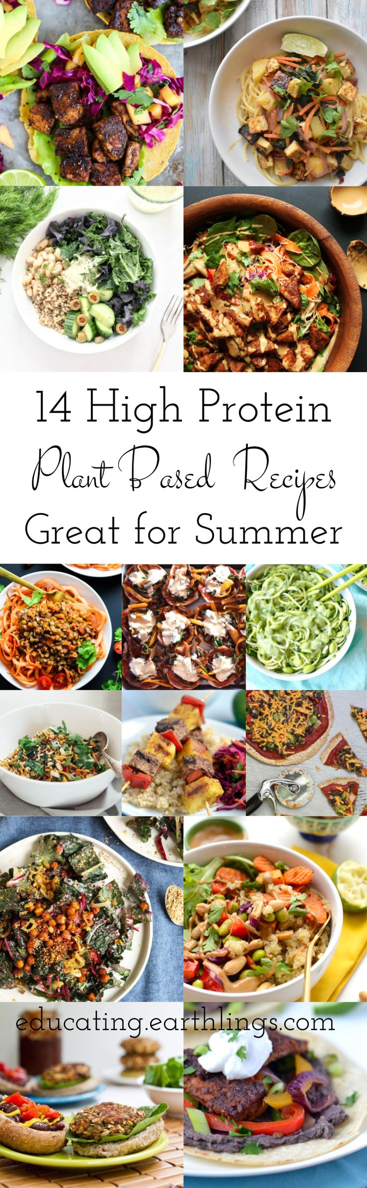 high protein plant based recipe round up for summer, summer recipes, vegan recipes, plant based recipes, high protein recipes