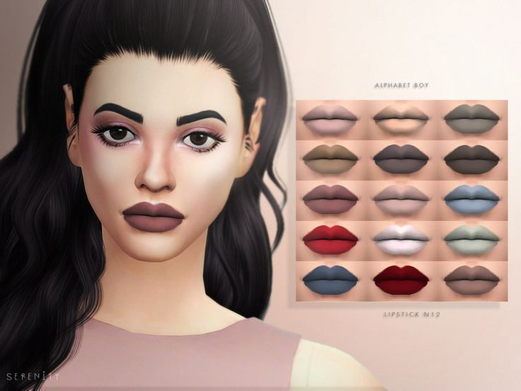 """serenity-cc: """" ALPHABET BOY - LIPSTICK N12 another lipstick :) - custom thumbnail - 15 colors; I did a special color palette from melanie martinez alphabet boy clip; - HQ Compatible; - any issues contact me :) wcif, just ask hope you like it..."""