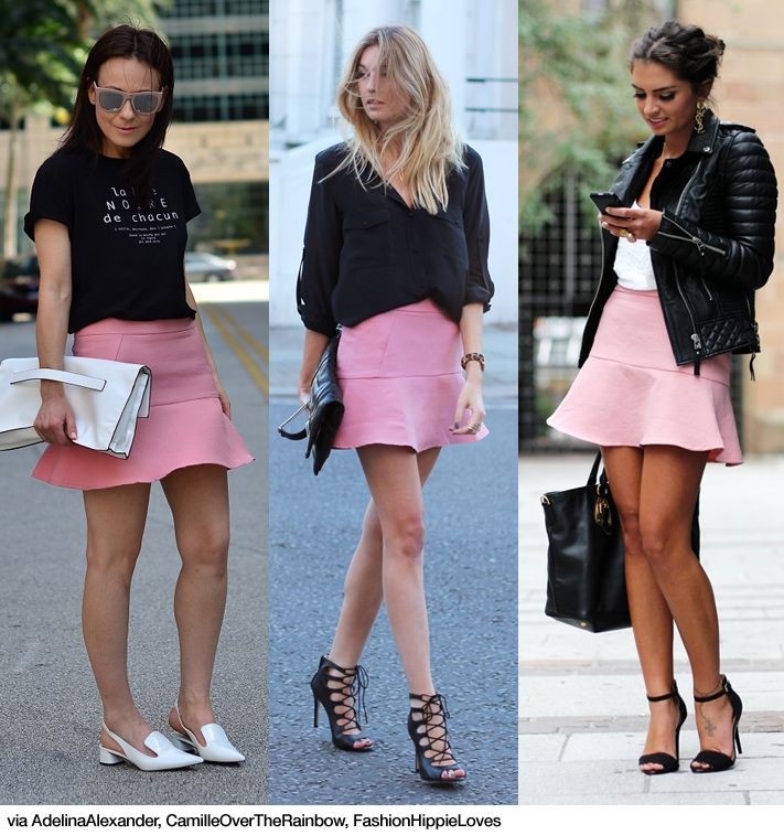 3x1: Pink Flared Skirt (Blue is in Fashion this Year)