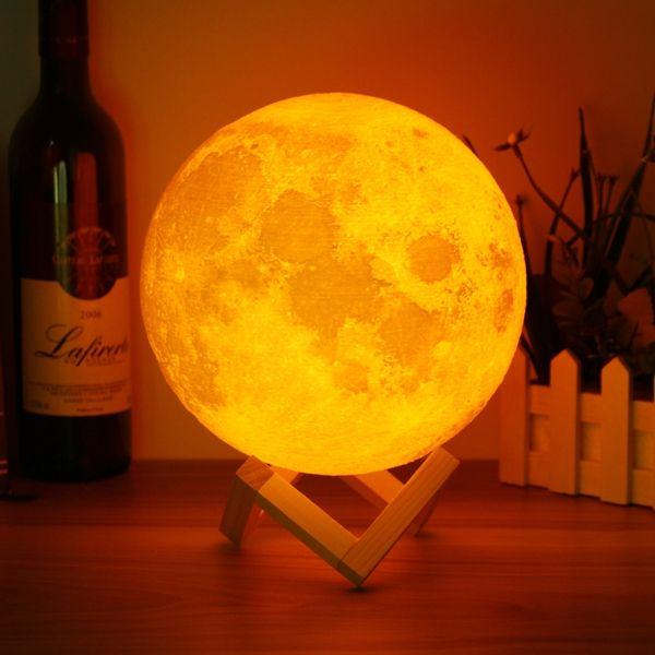 20cm 3d Magical Two Tone Moon Table Lamp Usb Charging Luna Led Night Light Touch Sensor Gift Indoor Lighting From Lights Lighting On Banggood Com Night Light Kids Night Light Led