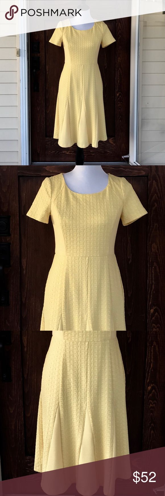 Talbots NWT yellow zip up back dress This dress is made out of the most amazing material- it's soft, thick, and stretchy. Fully lined and so flattering. Beautiful zip up back is a sexy touch to a classy dress. Talbots Dresses Midi