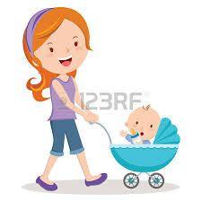 Resultado de imagen de con carrito bebe por el parque ilustraciones