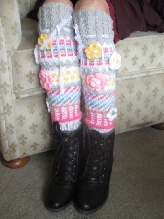 Hand knit knee socks House knee socks  Woman door MIMIARfashion