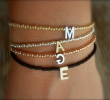 PERSONALISED Tiny Delicate Black & Single Gold Letter Friendship Bracelet (Can be made in any colour)