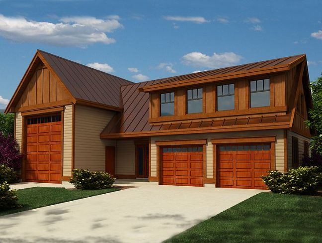 EPlans Contemporary Garage Plan RV And Double Car With Added Workshop Loft 114 Square Feet 0 Bedrooms From House Code