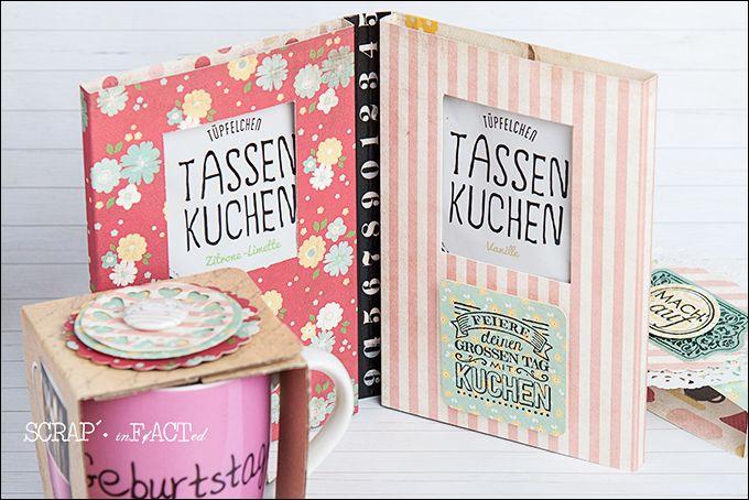Umschlag-Verpackung für Tassenkuchen und dazu passende Geburtstagstasse