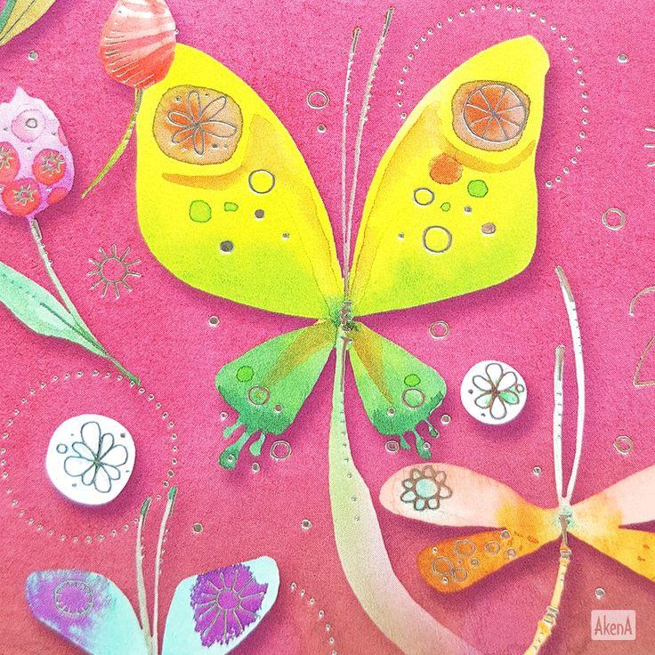 Farfalle e libellule su sfondo rosa per la copertina della nuova agenda giornaliera 2018 Goccioline Farfalle