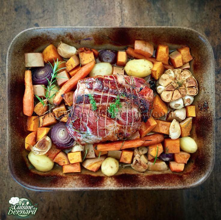 Faites cuire 50 minutes à 1 heure à four chaud (200° à 225°C). Arrosez d'un peu d'eau de temps en temps la viande et retournez au besoin les légumes pour qu'ils ne sèchent pas. Quand il y a assez de jus, je ne mets plus d'eau, mais j'arrose régulièrement la viande avec le jus réalisé. À mi-cuisson, retournez la viande et ajoutez un peu de miel. Servez quand tout est joliment coloré et dégustez sans attendre !