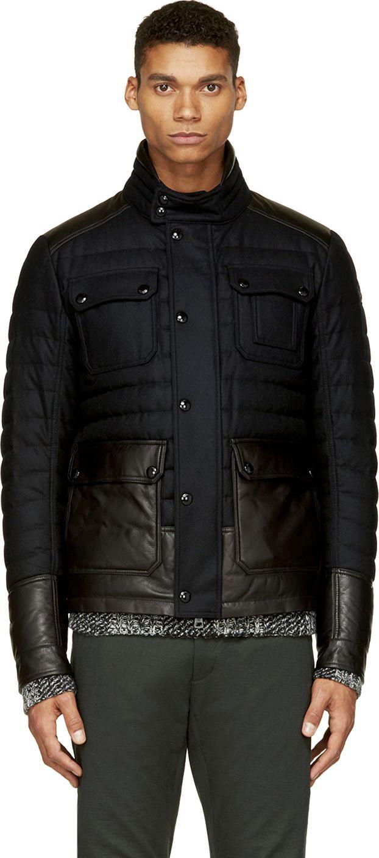 Moncler: Black Quilted Wool Burton Jacket