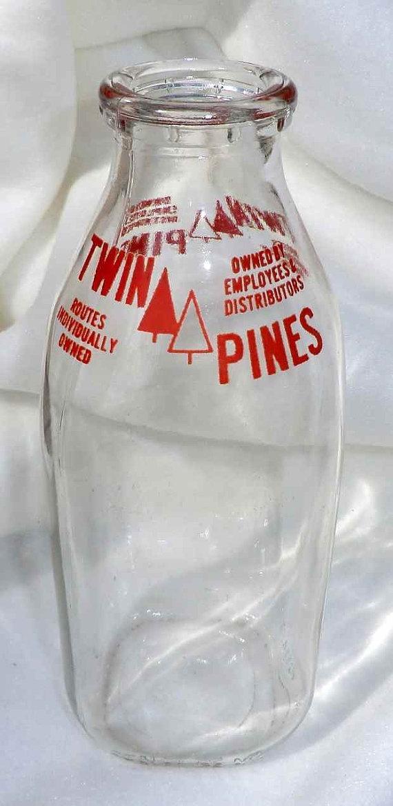 Vintage Twin Pines Dairy Milk Bottle By Paisleypurveyor On