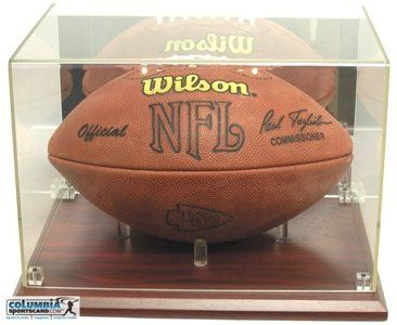 deluxe acrylic full size football display case cherry wood by cardboard gold