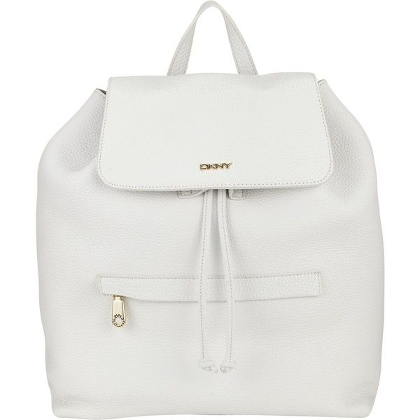 DKNY Tumbled Leather Backpack, White found on Polyvore