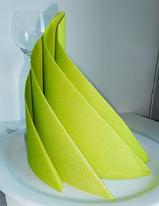 Pliage de serviette de table en forme de spirale ou de sapin de Noël moderne, réaliser une spirale avec une serviette en papier , l'art du pliage de serviettes de table, decoration de table, recettes de cuisine et traditions en Europe. Information et Tourisme Européen.
